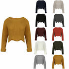 Womens Crop Top Long Sleeves Crew Neck Knitted Jumper Cardigan Ladies Casual UK