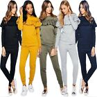 New Ladies Womens 2 Piece Tracksuit FRILL Detail Ruffle TOP Joggers SET