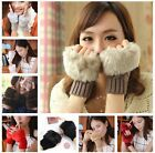 Women's Knitted Fingerless Winter Gloves Unisex Soft Warm Mittens