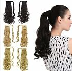 "18""Wholesale Wavy Ponytail clip-on Peruvian Human Hair drawsthing Extensions 80g"