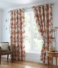 Leaf Trail Terracotta Ring/Eyelet Top Fully Lined Curtains,Drapes,Modern Design,