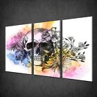 FLORAL GOTHIC SKULL GRAFFITI 3 PANELS CANVAS PRINT PICTURE READY TO HANG