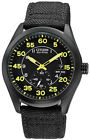 Citizen Eco-Drive Military Black & Yellow Multi Dial Canvas Watch BV1085-14E