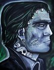 Franky Stein by Melody Smith Tattooed Frankenstein Monster Kiss Canvas Art Print