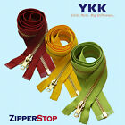"14"" to 48"" #5 Brass Separating Jacket Zipper YKK ~ ZipperStop - White"