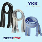 "14"" to 48"" #5 Aluminum Separating Jacket Zipper YKK ~ ZipperStop - Black"