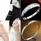 "UP ""925 Sterling Silver Plated Women Jewelry Adjustable Hoop Bangle Bracelet """