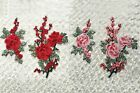 NEW Embroidered Red/Pink Floral Sew Appliques Lace Wedding Dresses Design WT76