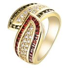 14K yellow Gold Filled white&Green&Red Zircon Wedding Ring Jewelry Size6-10