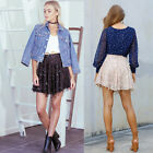 New Fashion Women Elastic High Waist  Sequins Tassel  Holiday Party Mini Skirts