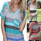 Womens Ladies Casual Short Sleeve V Neck T-Shirt Loose Tops Blouse UK 8-14