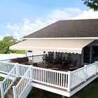 10x8 12x10FT Retractable Patio Deck Awning Sunshade Shelter Outdoor Canopy Brown
