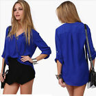 2016 New Europe Style Women Chiffon Long Sleeve Shirt V-Neck Tops Blouse T-Shirt