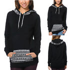 Women Long Sleeve Tops Geometric Printing Pocket Hooded Sweater Hoodies New LCF