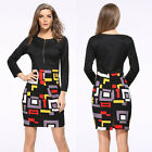 Women's Bandage Bodycon Black Slim Evening Party Cocktail Pencil Office Dress