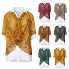 Ladies Womens Italian 3 piece Collar Mesh Layered Floral Lace Panel Tunic Jumper