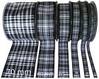 Menzies Black & White Tartan Ribbon - various widths, cut lengths and 25m reels