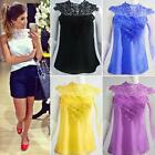Fashion Women Sleeveless High-Necked Lace Chiffon Backless Vest Tops Blouse
