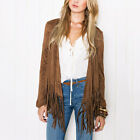 Fashion Women's Faux Suede Tassels Fringe Jacket Coat Outerwear