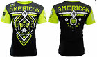 AMERICAN FIGHTER Mens T-Shirt FAIRBANKS Athletic BLACK NEON GREEN Biker $40 image
