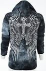 Внешний вид - AFFLICTION Womens Hoodie Sweatshirt ZIP UP Jacket SACRIFICE Wings UFC Sinful $74