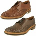 Mens Clarks Leather Lace Up Weave Detail Shoes - Grimsby Craft