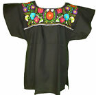 Black Mexican embroidered tunic blouse peasant blouse ALL SIZES