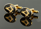 PAIR of Gold Plated Square and Compass Masonic Cufflinks