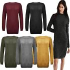 New Ladies Womens Plain Knitted Long Sleeves Winter Jumper Bodycon MIDI Dress