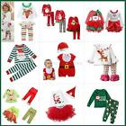 2PCS Baby Kids Girls Xmas Clothes Long Sleeve Shirt Dress Tops+Pants Outfits Set