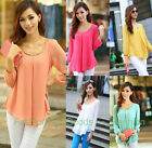 Hot New Fashion Women's Girl Loose Chiffon Tops Long Sleeve Shirt Casual Blouse