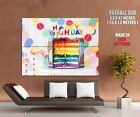 Happy Birthday Decoration Multicolored Cake Wall Print POSTER