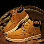 Men's Suede British Style Ankle Boots Lace Up High-top Martin Shoes Casual
