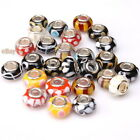 Wholesale Stripe&Dots Colorful Lampwork Spacer Beads Fit European Bracelets