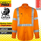 3x Hi Vis Shirts Safety Full Orange Cotton Drill Work 3M Cross Back Tape Vents