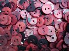 100 X Small 12mm 20L Dark Red & Black Craft Scrapbook 2 Hole Buttons (SC6)