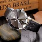 Luxury Men's Stainless Steel Quartz Analog Military Leather Wrist Watch Round