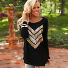 Fashion Women's Casual Loose Sequins Printed Long Sleeve Tunic Blouse Tops
