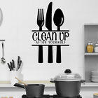 Clean Up Wall Sticker Kitchen Quotes Wall Decal Knife Fork Home Decor