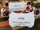 Personalised White Elegant Place Cards/Escort Cards with Holders Wedding