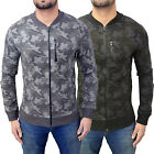 Mens Genetic Apparel Camouflage Lightweight Designer Zip Thru Camo Bomber Jacket