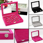 UP Velvet Glass Jewelry Earring Display Organizer Box Holder Storage Show Case