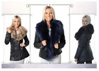 Womens Black PU Biker Jacket Faux Fur PVC Leather Effect Ladie Long Coat 8 to 24
