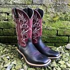 TWISTED X WOMEN'S BLACK/MAROON TOP HAND WIDE SQUARE TOE COWGIRL BOOTS WTH0010