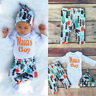 3pcs Newborn Baby Boys Girls Romper Jumpsuit Bodysuit+Pants Clothes Outfits Set