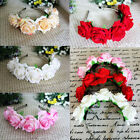 6 Colors Rose Flower Garland Hair Head Band Crown For Bride Flower Girl New