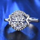 Noble Women 925 Silver white topaz Ring Wedding Engagement Jewelry size 6-10