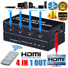 4 in 1 4x1 HDMI Switch Box 4K 3D 1080P PIP Switcher IR Remote Control Selector