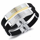 OPK Men's Stainless Steel Black Rubber Bracelet Cuff Wristband Bangle Clasp 8""