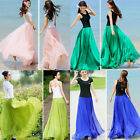 US Seller Women Double Layer Chiffon Pleated Long Maxi Dress Elastic Waist Skirt